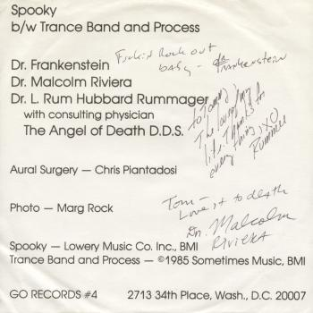 velvet monkeys autographed back cover